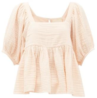 BRIGITTE Anaak Peplum-hem Cotton-seersucker Top - Womens - Light Pink