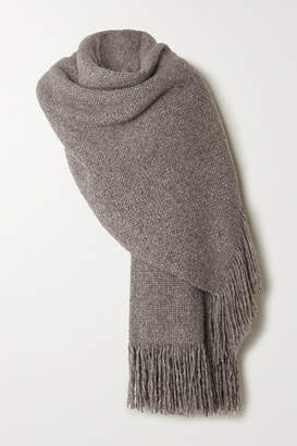 LAUREN MANOOGIAN Oversized Fringed Melange Alpaca, Wool And Cotton-blend Wrap - Gray
