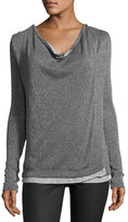 Three Dots Cheyanne Crossover Knit Top, Charcoal