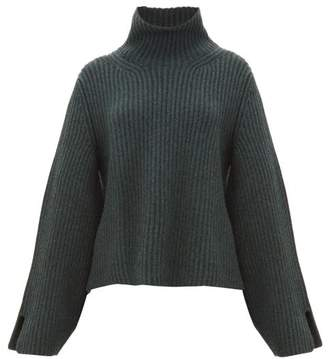 KHAITE Molly Bowed-sleeve Cashmere Roll-neck Sweater - Womens - Green