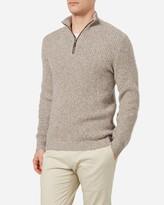 Waffle Knit Half Zip Cashmere Sweater