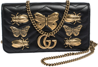 Gucci Black Animal Studs Matelasse Leather Mini GG Marmont Chain Clutch