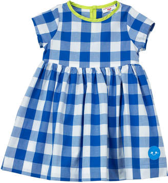 Smiling Button Gingham Short-Sleeve Dress w/ Neon Trim, Size 0-18 Months