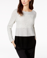 Charter Club Petite Cashmere Donegal Colorblocked Sweater, Created for Macy's