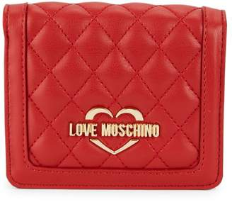 Love Moschino Quilted Faux Leather Bi-Fold Wallet