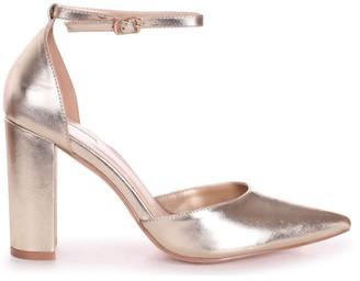 Linzi MARLIE - Gold Metallic Court Shoe With Ankle Strap & Block Heel