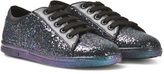 Stuart Weitzman Black Glitter Lace-Up Trainers