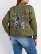 Charlotte Russe Plus Size Embroidered Twill Utility Jacket