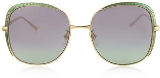 Gucci GG0400S Shiny Gold Guilloche Metal Frame Sunglasses