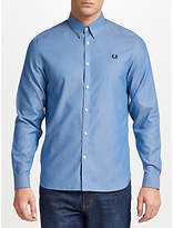 Fred Perry Long Sleeve Tape Detail Shirt, Mid Blue