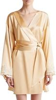 La Perla Maison Beige Silk Satin Short Robe
