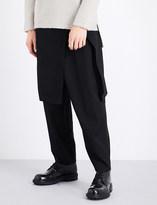 Yohji Yamamoto Skirt-overlay wool trousers