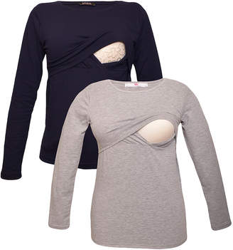 Myra Europe Women's Tee Shirts Navy&Grey - Navy & Gray Nursing Long-Sleeve Tee Set - Women
