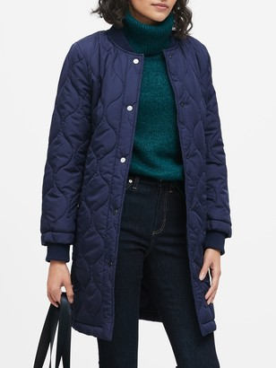 Banana Republic Water-Resistant Quilted Long Coat