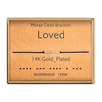 Morse Code Bracelet 14k Gold Plated Beads on Silk Cord Secret Message Loved Bracelet Gift Jewelry for Her