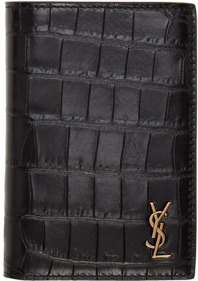 Saint Laurent Black Croc-Embossed Tiny Monogramme Credit Card Holder