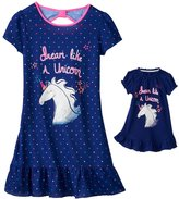 SO Girls 4-16 SO® Bow-Back Print Dorm Nightgown & Doll Gown Set