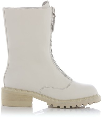 Nissa White Leather Ankle Boots With Track Sole
