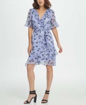 DKNY Ruffle Neck A-Line Dress W/Self Belt