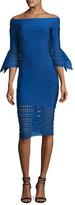 Herve Leger Roselynn Off-the-Shoulder Lattice-Trim Dress, Blue