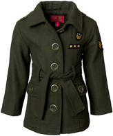 Pink Platinum Olive Patch-Accent Peacoat - Toddler & Girls