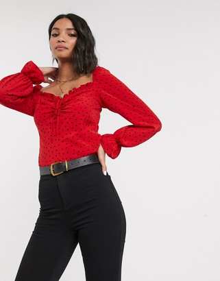 Topshop blouse with square neck in red