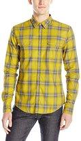 HUGO BOSS BOSS Orange Men's Edoslime Check Overprinted Button Down Shirt
