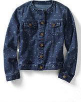 Classic Little Girls Denim Pattern Crewneck Jacket-Darkest Burgundy