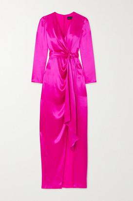 Brandon Maxwell Wrap-effect Silk-satin Gown - Pink