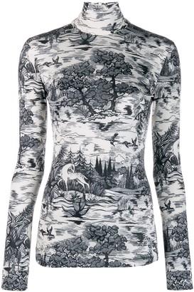 Victoria Victoria Beckham Forest Print Turtleneck Top