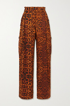 Dries Van Noten Leopard-print Silk-satin Cargo Pants - Orange