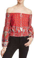 Band of Gypsies Paisley Floral Print Off-the-Shoulder Top