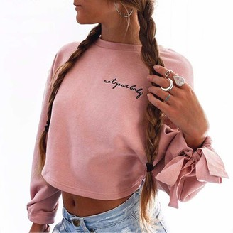 Goul Crop Sweatshirts for Women Teen Girls Trendy Casual Oversized Long Sleeve Crop Tops Workout Solid Blouse White