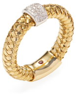 Roberto Coin Primavera Yellow Gold & 0.10 Total Ct. Diamond Wide Band Ring, Size 6.5