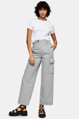 Topshop Blue Contrast Stitch Straight Trousers