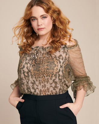 Naeem Khan Off-the-Shoulder Leopard Sparkle Top