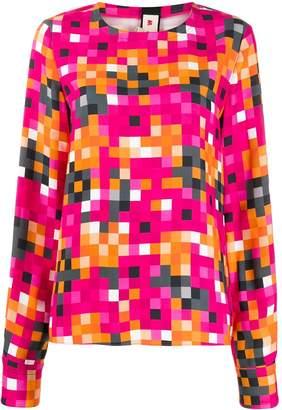 Marni pixel-print long-sleeve blouse