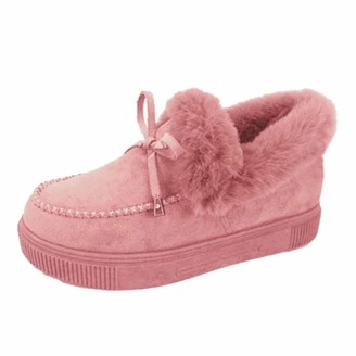 Heflashor Women's Ankle Boots Thick Plush Heel Winter Warm Sports Shoes Anti-skiing Slip On Flat Boots Outdoor Snow Boots Shoes(Pink5.5UK)