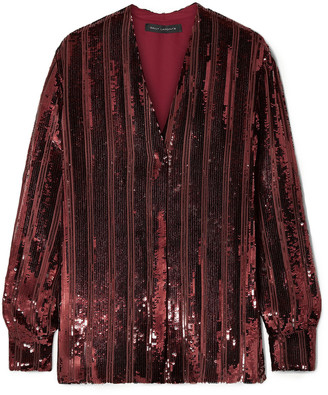 Sally LaPointe Striped Sequined Chiffon Blouse