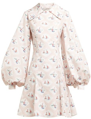 Emilia Wickstead Marina Boat-print Cotton-poplin Mini Dress - Pink Print