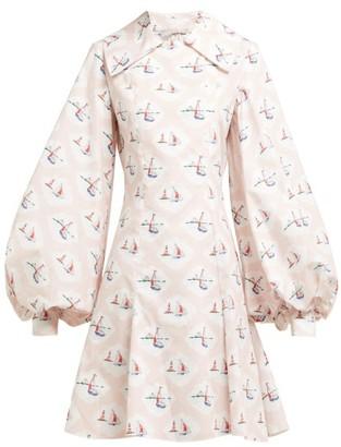 Emilia Wickstead Marina Boat-print Cotton-poplin Mini Dress - Womens - Pink Print