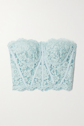 Dolce & Gabbana Strapless Grosgrain-trimmed Corded Lace Bustier Top - Blue