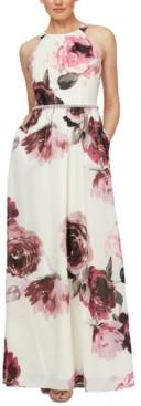 SL Fashions Petite Floral-Print Embellished-Waist Maxi Dress
