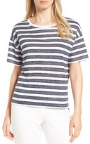Nordstrom Women's Crewneck Stripe Linen Tee
