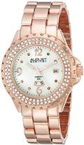August Steiner Women's AS8156RG Rose Gold-Tone Watch with Link Bracelet