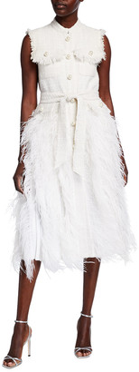 Huishan Zhang Tweed and Feather Gilet Dress