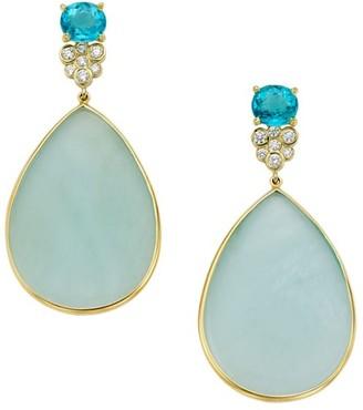 Ippolita Rock Candy 18K Yellow Gold, Aqua, Apatite & Diamond Drop Earrings