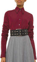 Michael Kors Ruched-Sleeve Pinstriped Button-Front Shirt