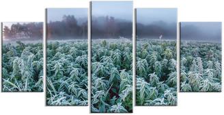 """Design Art Usa """"Frozen Hemp Field in Autumn Morning"""" Landscape Wall Art, 5 Panels, 60"""