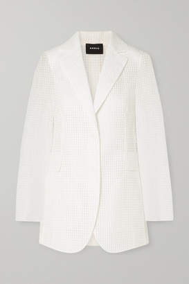 Akris Alina Checked Cotton-blend Voile Blazer - White